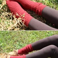 Day by Day Chunky Knit Socks in Burgundy | Sincerely Sweet Boutique