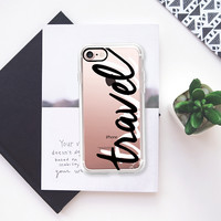 Travel the World Cursive Writing - Black & White iPhone 7 Case by Love Lunch Liftoff | Casetify