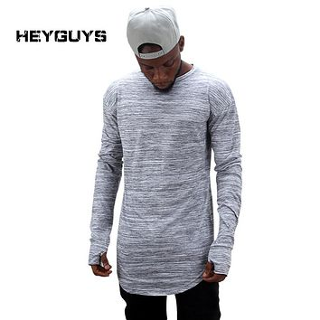 HEYGUYS  extend hip hop street T-shirt  fashion brand t shirts men summer long sleeve oversize design hold hand