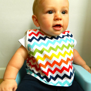 Rainbow Chevron Gender Neutral Baby Bib Toddler Bib Reversible