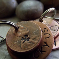Couple set of Lucky Us Keychains,  2 Lucky Us Copper Keychains with two lucky pennies each