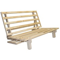 Full size Futon Frame Sleeper Sofa Bed Lounger in Unfinished Solid Wood