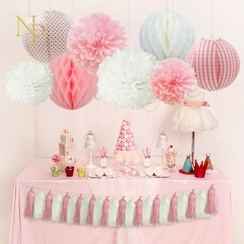 Nicro Wedding Birthday Party Paper DIY Decor Set Pink/Blue/Red/Green Paper Lantern Honeycomb Ball PomPom Flower Tassel Garland