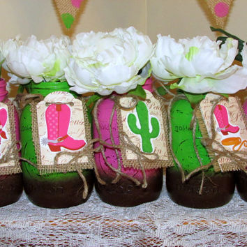 Decorated mason jar with tag, cowgirl birthday, painted mason jar, rustic wedding, centerpiece, bridal shower, rustic parties, country décor