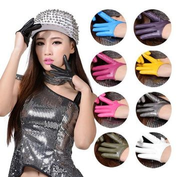 Fashion Sexy Female Night Club Pole Dancing Leather Gloves Women Gothic Punk Rock Show Half Palm Full Finger Fitness Gloves L63