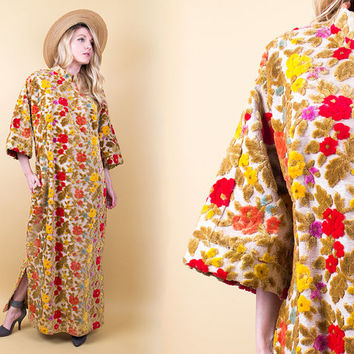 60's floral tapestry maxi dress / vibrant floral bell sleeve draped gown / Vintage 1960s woven boho hippie ethnic cheongsam cut peasant