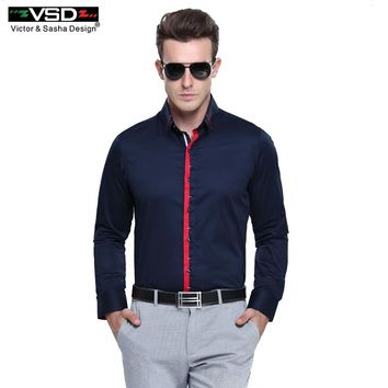 Fashion Double Collar Casual Shirts Slim Fit Long Sleeve Premium Cotton Shirting Men's Shirt