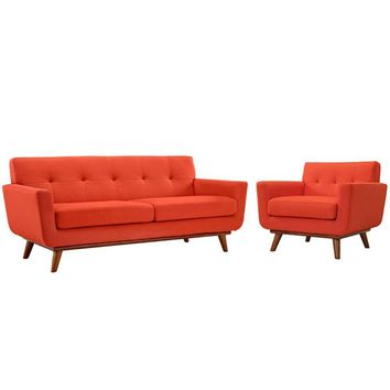Engage Armchair and Loveseat Set of 2, Atomic Red