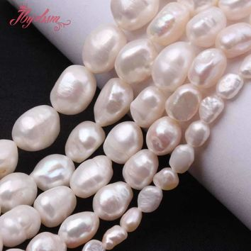 """5-7/8-9/9-10/10-11mm White Potato Natural Freshwater Pearl Beads Strand 14.5"""" For DIY Necklace Jewelry Making Free Shipping"""