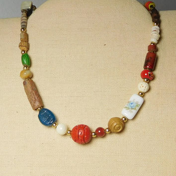 Hippie Choker Necklace Assorted Beads and Colors Beaded 17 Inches Carved Center Bead Plastic Glass Shell Wood Beads Boho Bohemian Men Women