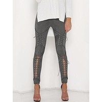 Laced Up Suede Rhi Rhi Leggings - Grey