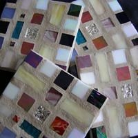 MultiColored Stained Glass Coasters, Mosaic, Housewarming,Hostess Gift, Home Decor