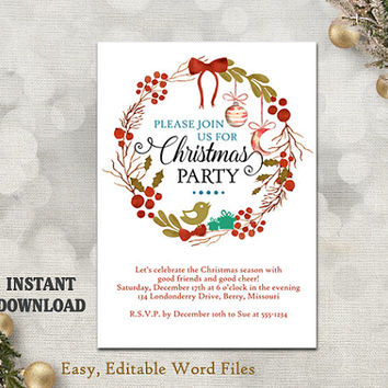 Christmas Party Invitation Template - Printable Holly Wreath - Holiday Party Card - Christmas Card - Editable Template - Watercolor Red DIY