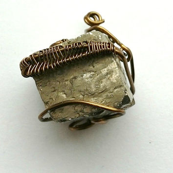 Pyrite Pendant, Mens Gemstone Pendant Necklace Wire Wrap Jewelry Handmade Mens Jewelry Sun Necklace Healing Jewelry, Fools Gold Jewelry