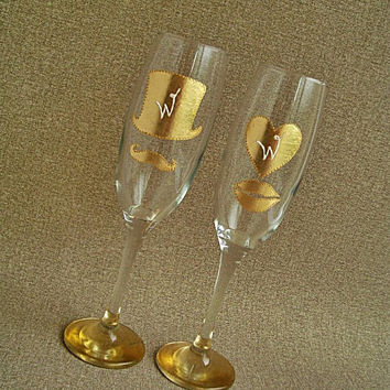 Gold Champagne Glasses, Mr and Мrs gold Champagne Glasses Couples champagne Lips champagne Mustache champagne Golden wedding champagne