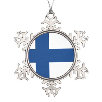 Snowflake Ornament with Finland Flag