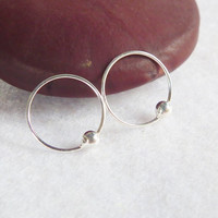 Tiny Silver Hoop Captive Bead Ring, Nose Hoops, Lip ring, Cartilage Rings, Segment Rings-925 Sterling Silver - Ex 12 mm In 10 mm