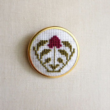 Cross Stitch Brooch or Necklace Purple Plum Aubergine Flower Pin or Pendant