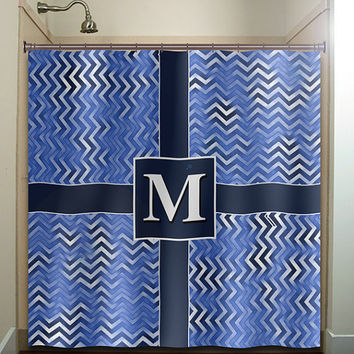 custom personalized Letter gift chevron shower curtain bathroom decor fabric kids bath white black custom duvet cover rug mat window