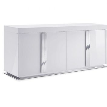 Maurice Buffet in High gloss white lacquer and polished stainless steel