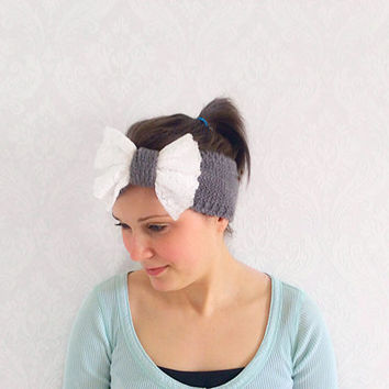 White Lace Bow Grey Knitted Headband, Stretchy Twist Headband, Fashion Hair Accessories, Ear Warmer, Sweatband, Turband, Teen Gift Idea