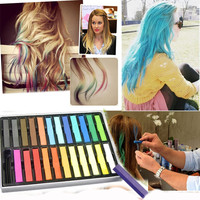 Hunnt? 24 Colours Temporary Color Dye Hair DIY Nontoxic Hair Color Chalk Pastel by bestfavor