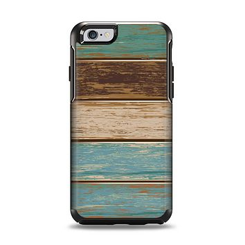 The Wooden Planks with Chipped Green and Brown Paint Apple iPhone 6 Otterbox Symmetry Case Skin Set