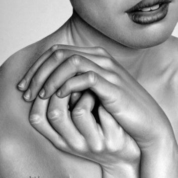 Female Nude Hands Pencil Drawing Fine Art Print Signed by Artist
