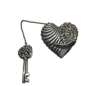 Sterling Silver Heart and Key Chatelaine Brooch by Truart, Chain Connected Pin, Key to My Heart Sweater Pins, Swag Brooch Set,