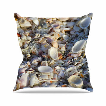 "Philip Brown ""Seashells On The Beach"" Coral Nature Outdoor Throw Pillow"