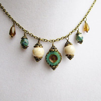 Teal Czech Glass Flower & Teal White and Brown Dangly Boho Chic Bronze Necklace