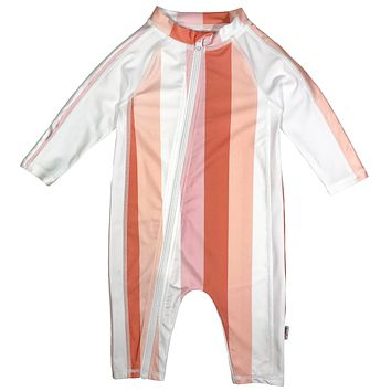 "Sunsuit - Girl Long Sleeve Romper Swimsuit with UPF 50+ | ""Peachy Stripe"""
