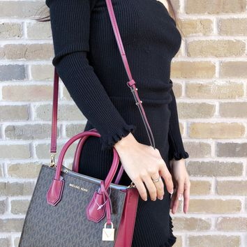 Michael Kors Mercer Studio Medium Messenger Convertible Tote Brown MK Mulberry Pink Satchel Bag