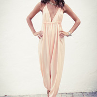 Genie Jumpsuit in Light Peach by Dancing Leopard on SilkFred
