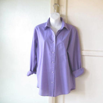 Lilac/Lavender Purple Long-Sleeve Cotton Blend Shirt; Women's Medium Purple Button Up Top; U.S. Shipping Included