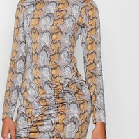 Snake Print Ruched Bodycon Dress | Boohoo