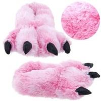Amazon.com: Pink Fuzzy Bear Paw Animal Slippers for Women and Men Large: Shoes