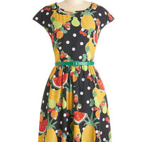 Bea & Dot Fruits Mid-length Cap Sleeves A-line Fresh Farmer's Market Dress