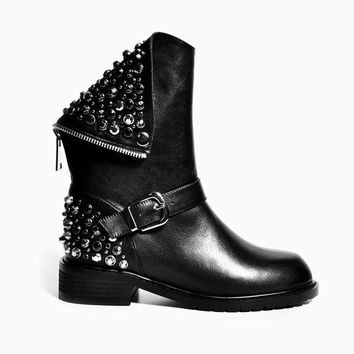 Pretty & Punk Rhinestone Motorcycle Boots