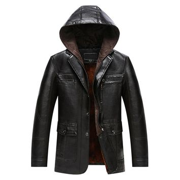 Slim Thick Hooded Winter Leather Jacket Men Lining Jacket Long