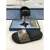 Gucci Trending Fashion Casual  Women Donald Duck Print Sandal Slipper Shoes Apricot G