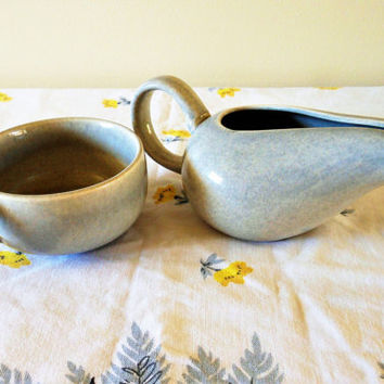 Steubenville Creamer,  Russel Right Creamer & Coffee Cup, American Modern Granite Gray Coffee Mug and Creamer, Mid Century Creamer and Mug