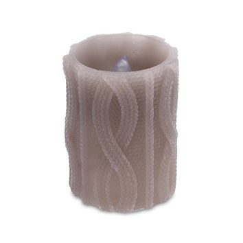 """4"""" Brown Cable Knit Battery Operated Flameless LED Wax Christmas Pillar Candle"""