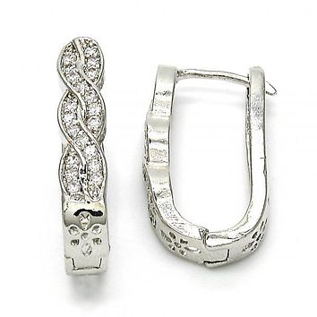 Gold Layered 02.267.0049.15 Huggie Hoop, Infinite Design, with White Cubic Zirconia, Polished Finish, Rhodium Tone