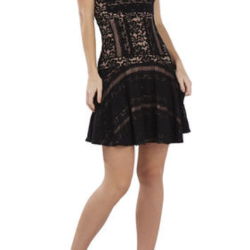 Jalina Sleeveless Lace-Blocked Dress - Black