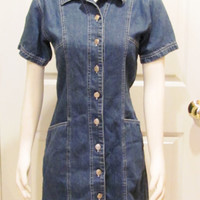 Chambray Dress Bluejean Dress Jean Dress Denim Dress Vintage Dress Vintage Clothing Womens Dress Ladies Blue Dress Boho Chic Fashion Dress
