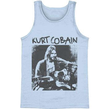 Nirvana Men's  Kurt Cobain Acoustic Mens Tank Blue
