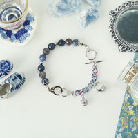 Handcuffs Bracelet with Sodalite ad Labradorite stones, Charms Arm Candy