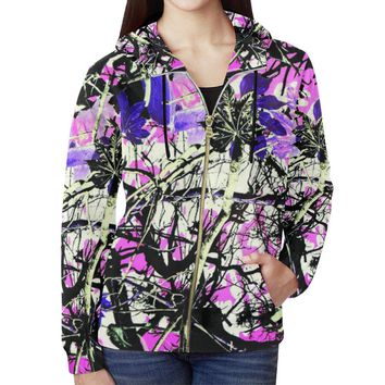 Country Girl Design 1 Women's All Over Print Full Zip Hoodie