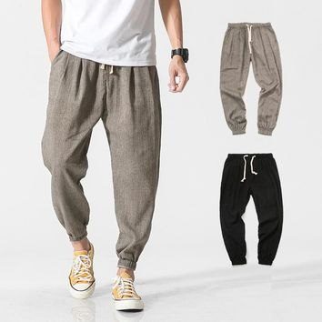 Helisopus Drawstring male Boho Harem Pants Men Jogger Pants Fitness Trousers Loose Casual Harajuku streetwear Harem pants 5XL